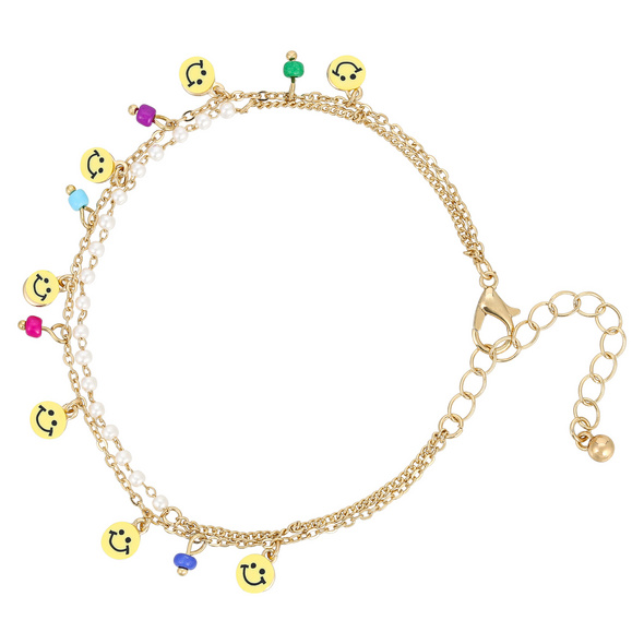 Armband mit Anhänger - Smiley Faces