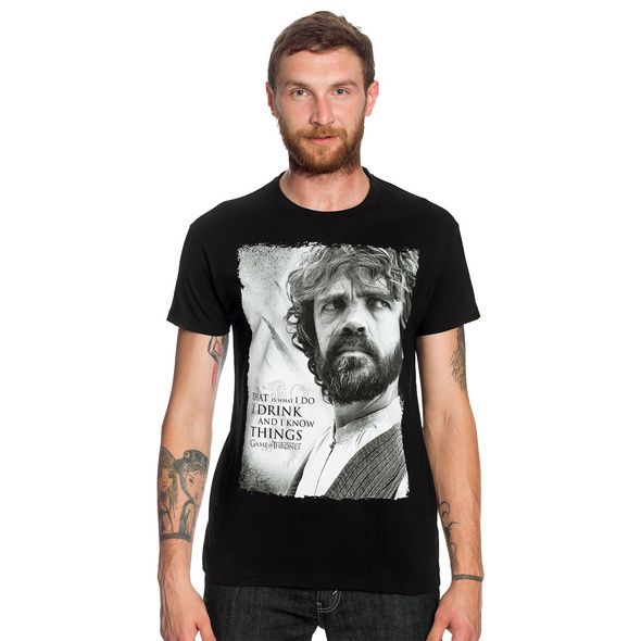 Game of Thrones - Tyrion Drink And Know Things T-Shirt schwarz