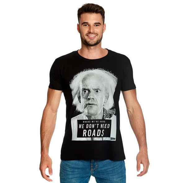 Zurück in die Zukunft - Doc Brown We Dont Need Roads T-Shirt schwarz
