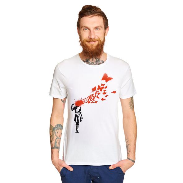 Banksy - Girl and Butterflies T-Shirt weiß