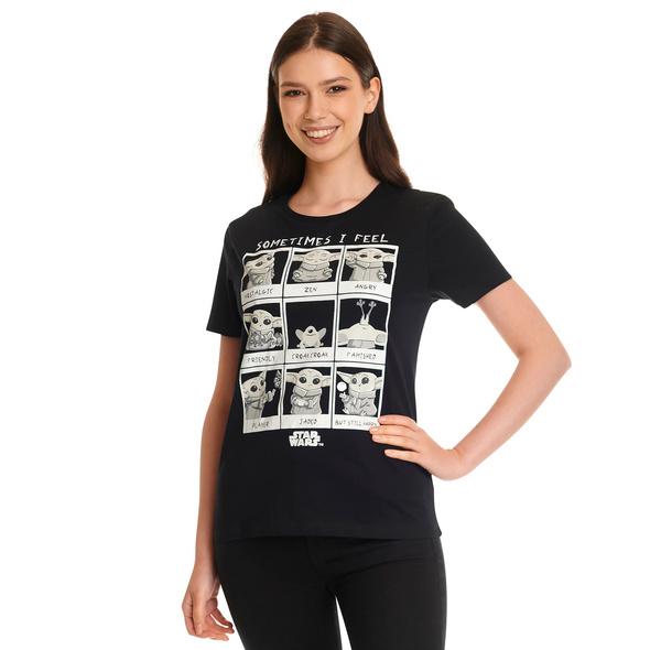 Grogu Emotions T-Shirt Damen schwarz - Star Wars The Mandalorian