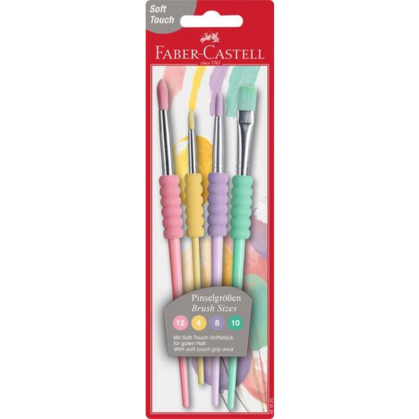 Faber-Castell Pinsel Softgriff Pastell 4er Set