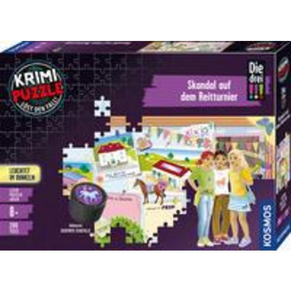 KOSMOS 680725 - Die drei !!! Skandal auf dem Reitturnier, Krimi Puzzle,