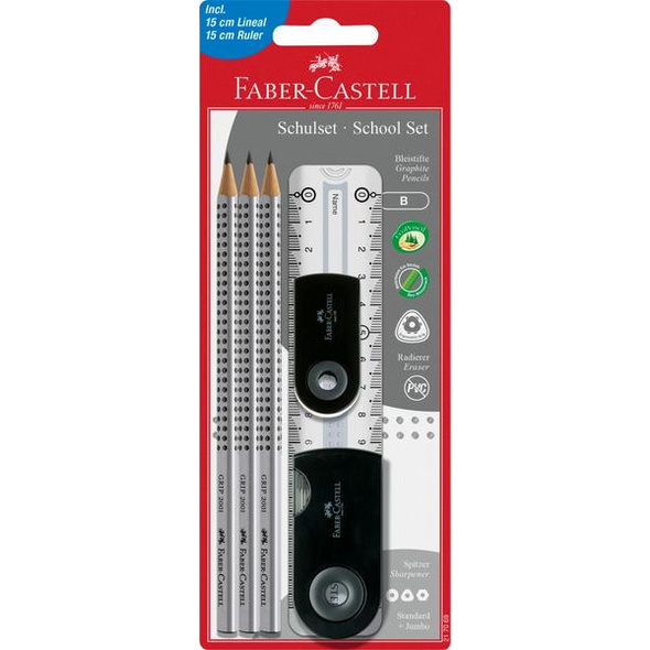 Faber-Castell Bleistifte Sleeve Set B inkl. Lineal+Radierer+Spitzer