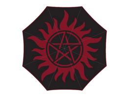 Supernatural - Anti Possession Symbol Schirm mit Aqua Effekt